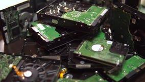 De aandrijving van de harde schijf Gedemonteerde HDD 4K stock video