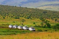 De aandrijving van het safarispel in Maasai Mara National Reserve, Kenia Stock Foto
