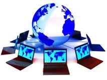De aangesloten Computers toont Verkiezing Binnendringend in een beveiligd computersysteem 3d Illustratie royalty-vrije illustratie