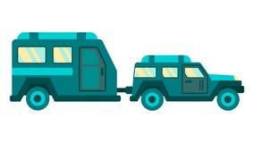 De Aanhangwagen en de Auto het Ontwerp van de Reiskaart van de beeldverhaalkampeerauto royalty-vrije illustratie