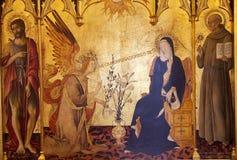 De Aankondiging, het schilderen, Siena, Italië stock afbeeldingen