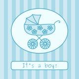 De aankondiging van de de jongensaankomst van de baby (vector) Stock Foto