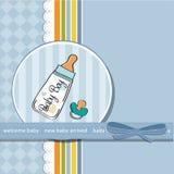 De aankondigingskaart van de baby met fopspeen Stock Afbeeldingen