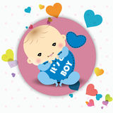 De aankondigingskaart van de babyjongen Stock Foto
