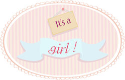 De aankondigingskaart van het babymeisje Stock Afbeeldingen
