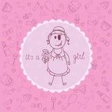 De aankondigingskaart van het babymeisje Stock Afbeelding