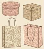 De aankoop doet en geplaatste dozen in zakken vector illustratie