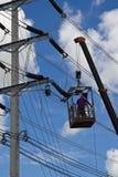 De aanleg van kabelnetten van de hoogspanning Royalty-vrije Stock Fotografie