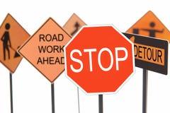 De aanleg van wegen tekens Royalty-vrije Stock Afbeelding