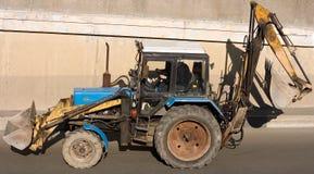 De aanleg van wegen tractor royalty-vrije stock fotografie
