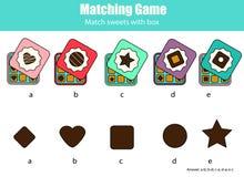 De aanpassing van kinderen onderwijsspel met chocoladesnoepjes Gelijke door de activiteit van vormjonge geitjes vector illustratie