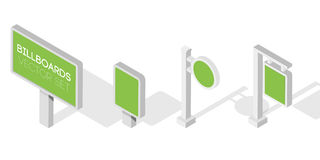 De aanplakborden, adverteren aanplakborden, stads licht aanplakbord Vlakke 3d isometrische illustratie voor infographic stock illustratie