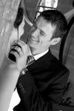 De Aanraking van de bruidegom stock fotografie