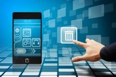 De aanraking van de hand het bakpictogram van mobiele telefoon Stock Afbeeldingen