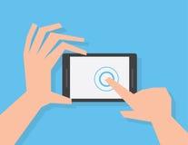 De Aanraking van de telefoonvinger Stock Foto's