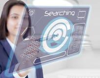 De aanraking van de vrouwenhand het zoeken Stock Fotografie