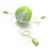 De aansluting van de wereld in groene 2 Royalty-vrije Stock Afbeeldingen
