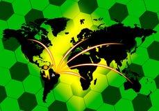 De aansluting van het voetbal op wereldkaart Royalty-vrije Stock Foto's