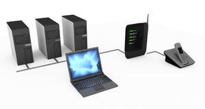 De aanslutingen van de modem en van de computer Stock Foto's