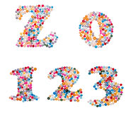 De aantallen die van kleurrijk worden gemaakt bestrooit Royalty-vrije Stock Afbeeldingen