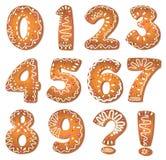 De aantallen en de symbolen van koekjes Stock Afbeelding