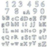 De aantallen en het alfabet van het glas royalty-vrije illustratie