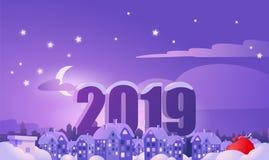 De aantallen op de achtergrond van nachtstad Kerstmis 2019 stock illustratie