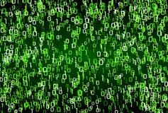 De aantallen van de matrijsstijl groene binaire textuur als achtergrond stock foto