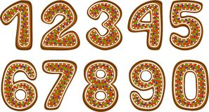 De aantallen van de peperkoek Stock Afbeeldingen