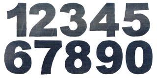 De aantallen van het cijferdenim Stock Foto's