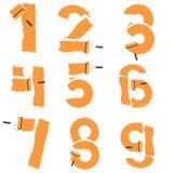 De aantallen van 0 tot 9 worden getrokken met verfrol Royalty-vrije Stock Afbeelding