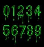 De aantallen worden gemaakt van kleverige vloeistof op een zwarte achtergrond vector illustratie