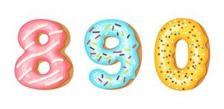 De aantallencijfers van het doughnutsuikerglazuur - 8, 9, 0 Doopvont van donuts Bakkerij zoet alfabet geïsoleerde latters A B C v royalty-vrije illustratie
