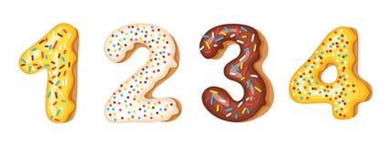 De aantallencijfers van het doughnutsuikerglazuur - 1, 2, 3, 4 Doopvont van donuts Bakkerij zoet alfabet geïsoleerde latters A B  vector illustratie