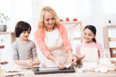 De aantrekkelijke grootmoeder legt koekjesstukken voor deco in keuken Het mengsel van het chocoladekoekje, het bakken de vormen e royalty-vrije stock afbeeldingen