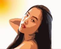 De aantrekkelijke jonge vrouw geniet van de zon posterized binnen beeld stock foto's