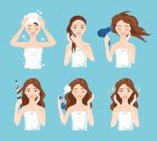 De aantrekkelijke mooie vrouwenwas, zorg en stileert haar haar De procedures van de haarbehandeling Stock Illustratie