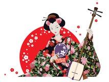 De aantrekkelijke Ventilator en Shamisen van Geishawearing kimono with Stock Foto