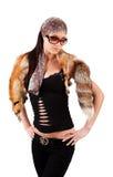 De aantrekkelijke vrouw die dier draagt viel Stock Fotografie