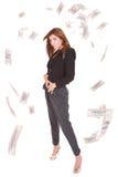 De aantrekkelijke vrouw neemt partij van 100 dollarsrekeningen Stock Fotografie