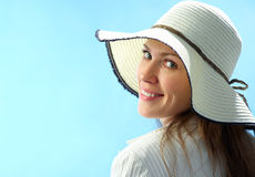 De aantrekkelijke vrouw van het portret in hoed Stock Afbeelding