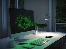 De aanval van de computerhakker het 3d teruggeven Stock Afbeelding