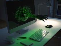 De aanval van de computerhakker het 3d teruggeven Royalty-vrije Stock Afbeeldingen