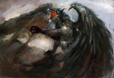 De aanval van de draak Stock Afbeeldingen