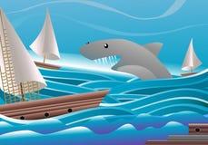 De aanval van de haai Stock Afbeeldingen
