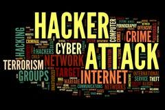 De aanval van de hakker in de wolk van de woordmarkering Stock Afbeeldingen
