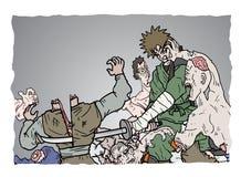 De aanval van zombiesamoeraien Royalty-vrije Stock Afbeeldingen