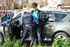 De aanvallen van Frankrijk Parijs - grenstoezicht met Duitsland stock foto