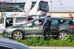 De aanvallen van Frankrijk Parijs - grenstoezicht met Duitsland stock afbeeldingen