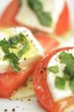 De aanzet van de tomaat en van de kaas Stock Foto
